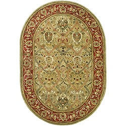 Handmade Mahal Green/ Rust New Zealand Wool Rug (7'6 x 9'6 Oval)