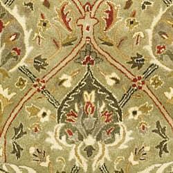 Handmade Mahal Green/ Rust New Zealand Wool Rug (8' Round)
