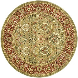 Safavieh Handmade Mahal Green/ Rust New Zealand Wool Rug (8' Round)