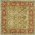 Handmade Mahal Green/ Rust New Zealand Wool Rug (8' Square)