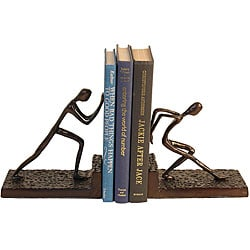 Men Pushing Bookend Set