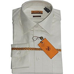 Enzo Tovare Men's Beige Twill Dress Shirt