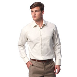Men's Beige Twill Dress Shirt