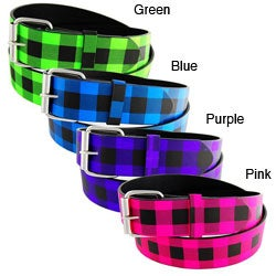 H2W Brand Unisex Plaid Faux-leather Fashion Belt with Metal Buckle