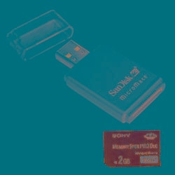 Sony 2GB Memory Card and SanDisk Card Reader