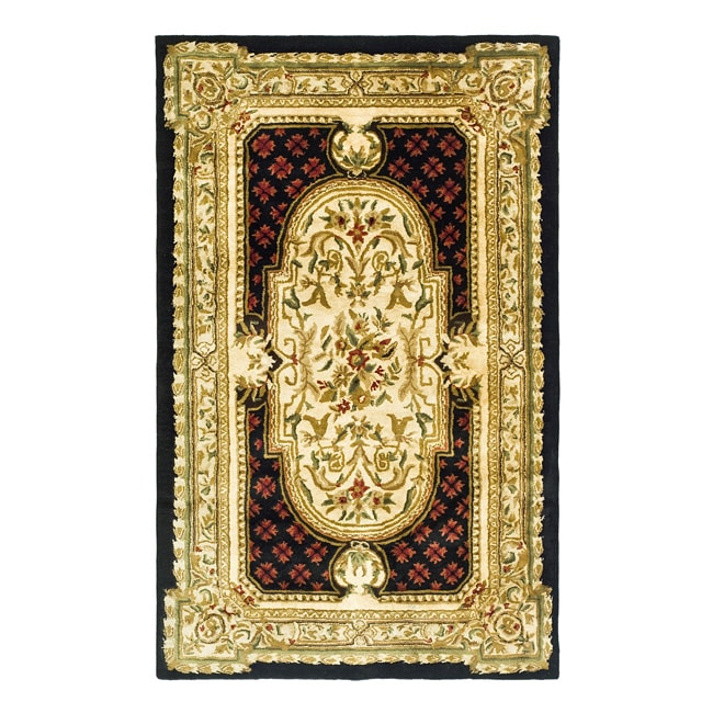 Safavieh Handmade Classic Black/ Beige Wool Rug (4' x 6')