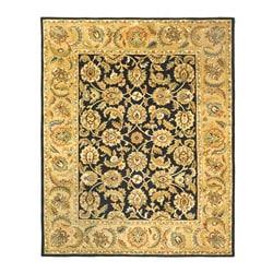Handmade Classic Black/ Gold Wool Rug (6' x 9')