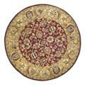 Safavieh Handmade Classic Red/ Gold Wool Rug (3'6 Round)