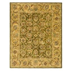 Handmade Classic Olive/ Beige Wool Rug (7'6 x 9'6)