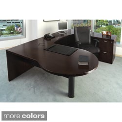 Mayline Mira Wood Veneer 4-piece LH P-top U Workstation Suite #22