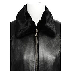 Nuage Women's Faux Fur Collar Leather Jacket