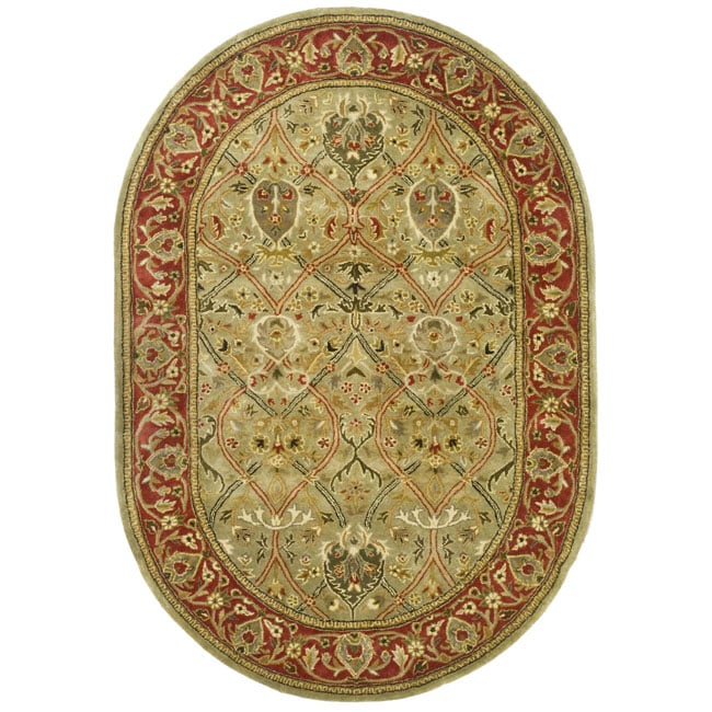 Safavieh Handmade Mahal Green/ Rust New Zealand Wool Rug (4'6 x 6'6 Oval)