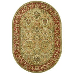 Handmade Mahal Green/ Rust New Zealand Wool Rug (4'6 x 6'6 Oval)