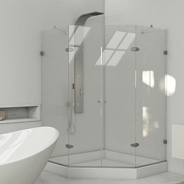 VIGO Neo-angle Frameless Glass Shower Enclosure/ Base