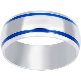 West Coast Jewelry Stainless Steel Men's Blue Enamel Groove Domed Ring