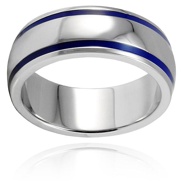 Stainless Steel Men s Blue Enamel Groove Domed Ring