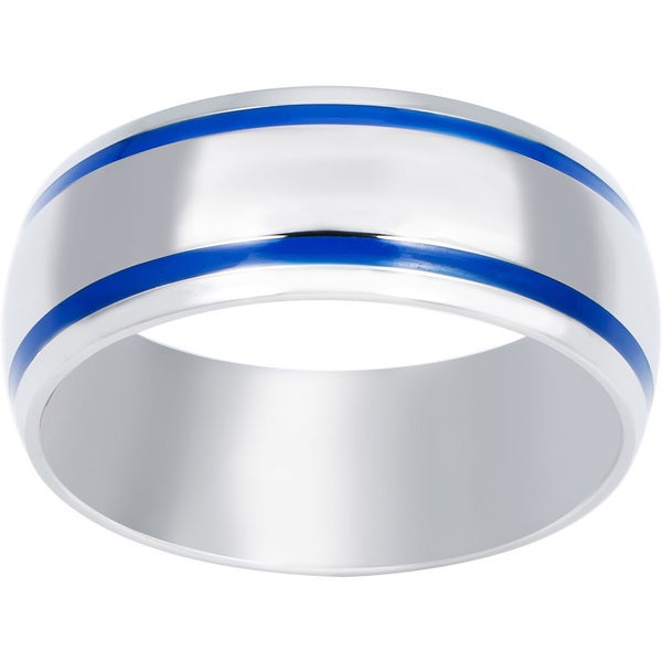 Stainless Steel Men's Blue Enamel Groove Domed Ring