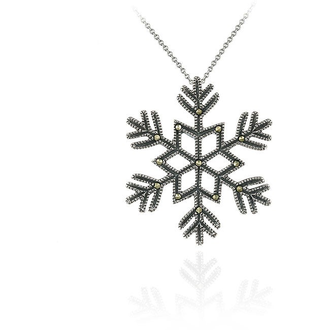 Glitzy Rocks Sterling Silver Marcasite Snowflake Necklace