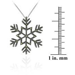 Glitzy Rocks Sterling Silver Marcasite Snowflake Necklace