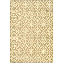Hand-hooked Lexington Ivory/ Cream Polypropylene Rug (6' x 9')