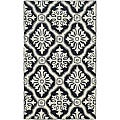 Hand-hooked Lexington Ivory/ Black Polypropylene Rug (2' x 3')