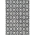 Hand-hooked Lexington Ivory/ Black Polypropylene Rug (6' x 9')