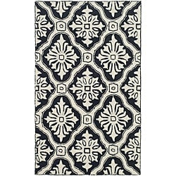 Hand-hooked Lexington Ivory/ Black Polypropylene Rug (3' x 5')