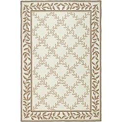 Safavieh Hand-hooked Trellis Ivory/ Beige Polypropylene Rug (6' x 9')