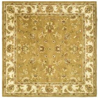 Safavieh Handmade Heritage Tabriz Mocha/ Ivory Wool Rug (8' Square)