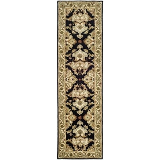 Handmade Heritage Traditions Black/ Ivory Wool Runner (2'3 x 8')