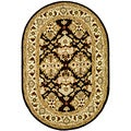 Handmade Traditions Black/ Ivory Wool Rug (4'6 x 6'6 Oval)