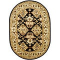 Handmade Traditions Black/ Ivory Wool Rug (7'6 x 9'6 Oval)