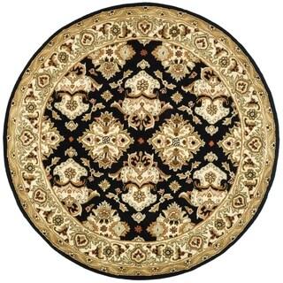 Safavieh Handmade Heritage Traditions Black/ Ivory Wool Rug (6' Round)