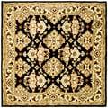 Safavieh Handmade Heritage Traditions Black/ Ivory Wool Rug (8' Square)