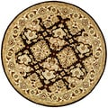 Handmade Traditions Dark Mocha/ Ivory Wool Rug (8' Round)