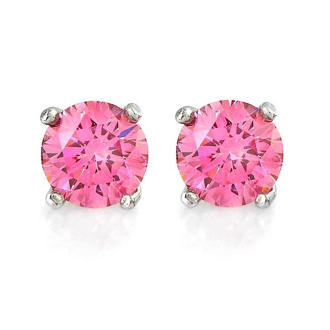 14k White Gold 3/4ct TDW Hot Pink Diamond Stud Earrings
