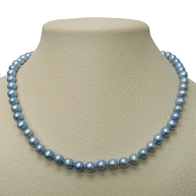 Overstock.com Blue Freshwater Pearl 18-inch Strand (7.5-8 mm) at Sears.com