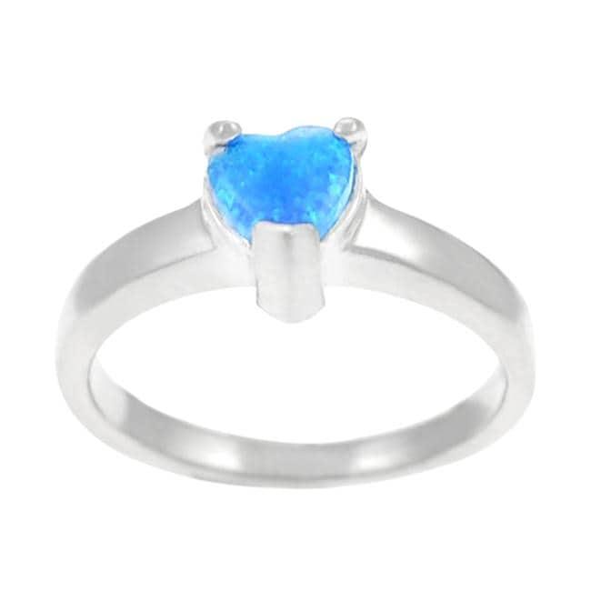 Journee Sterling Silver Blue Opal Heart Ring