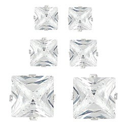 Tressa Sterling Silver CZ Princess Earring Set (3 pair)