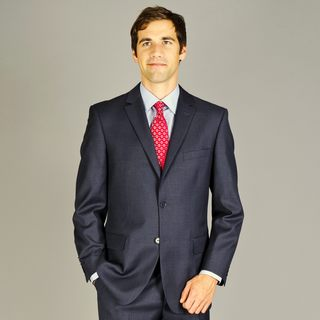 Men's Grey Two-button Wool Suit