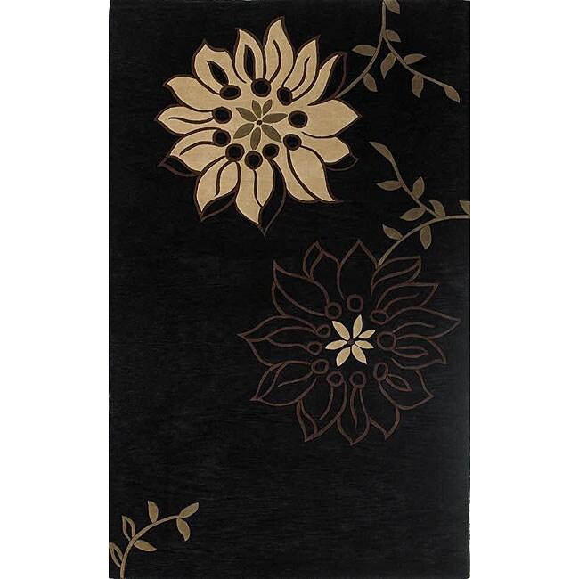 Hand-tufted Saraha's Flowers Black Wool Rug (5' x 8')
