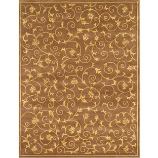 Alliyah Handmade Brown New Zealand Blend Wool Rug 8x10