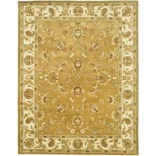 Handmade Heritage Tabriz Mocha/ Ivory Wool Rug (5' x 8')