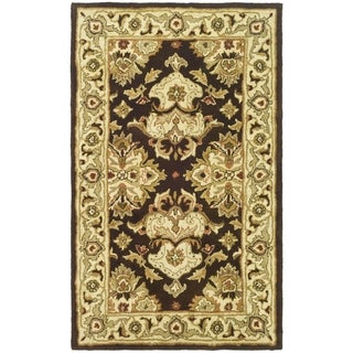Handmade Heritage Traditions Black/ Ivory Wool Rug (2' x 3')