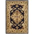 Safavieh Handmade Heritage Traditions Black/ Ivory Wool Rug (2' x 3')
