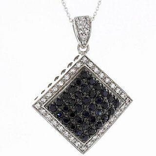 Beverly Hills Charm Silver Black and White Sapphire Necklace