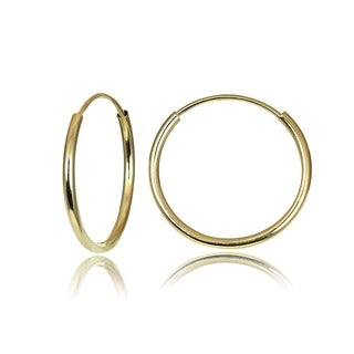 Mondevio 10k Gold 13mm Endless Hoop Earrings