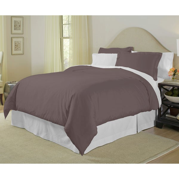 Pima Cotton 400 Thread Count 3-piece Queen Size Duvet Cover Set in Plum (As Is Item)