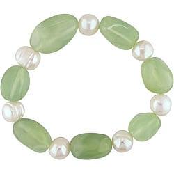 Miadora Pearl and Green Aventurine Bead Elastic Bracelet (10-11 mm)