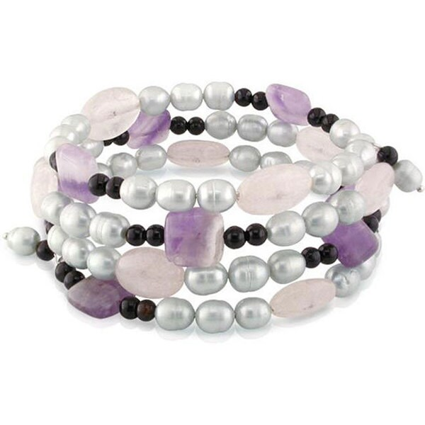 M by Miadora Grey Pearl, Quartz, and Onyx Bead Coil Bracelet (6-6.5 mm)